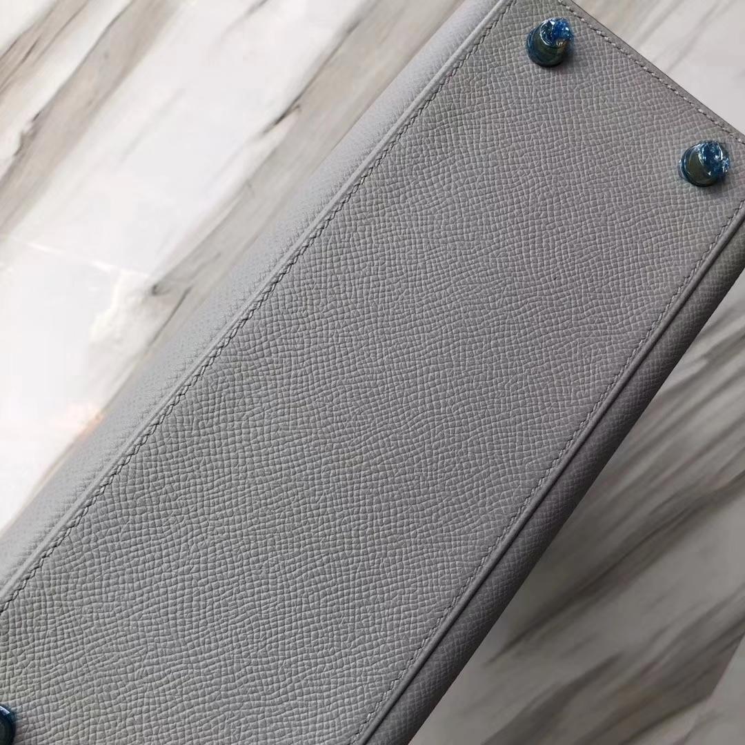 Stock Fashion Hermes 4Z Gris M Epsom Calf Sellier Kelly25CM Bag Gold Hardware