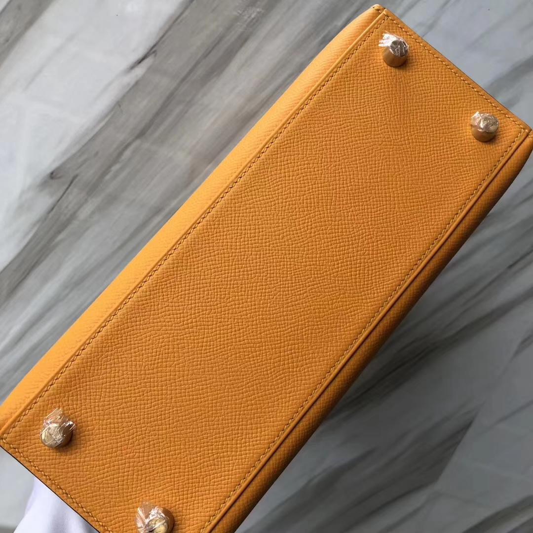 Wholesale Hermes 9V Jaune D'or/Blue Paon Epsom Calf Kelly25CM Bag Gold Hardware