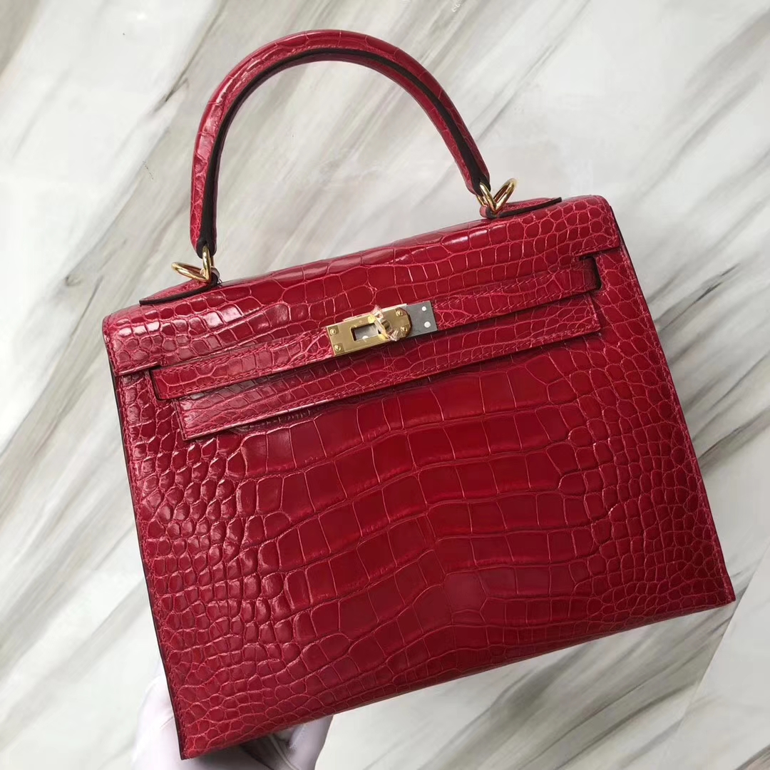 Stock Hermes Alligator Shiny Crocodile Kelly25CM in CK95 Braise Gold Hardware