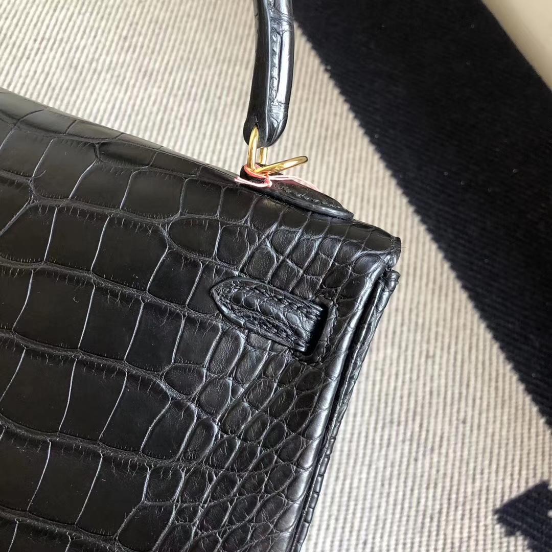 Stock Hermes CK89 Noir Crocodile Matt Retourne Kelly25CM Bag Gold Hardware