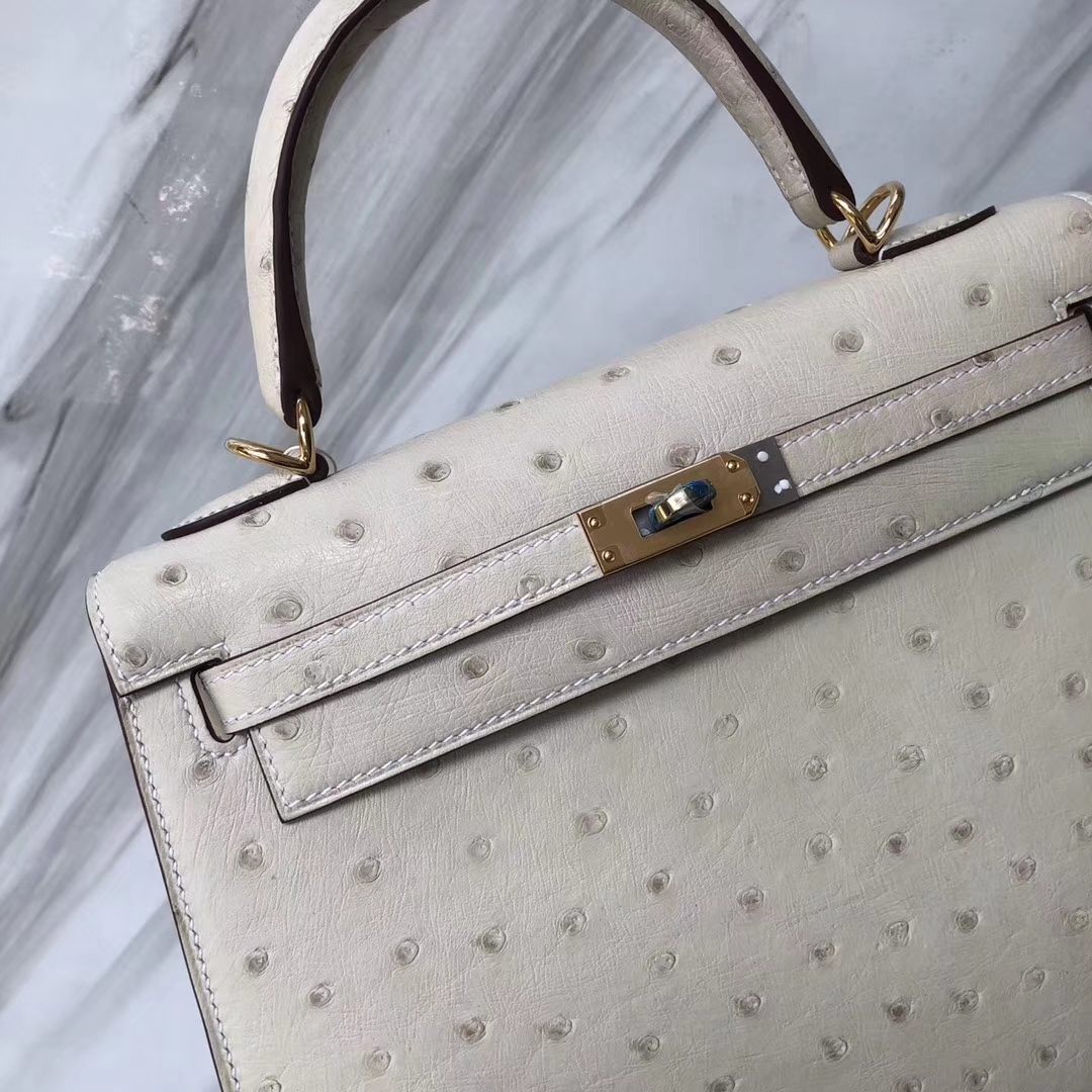 Stock Hermes 3C Wool White Ostrich Leather Sellier Kelly25CM Bag Gold Hardware