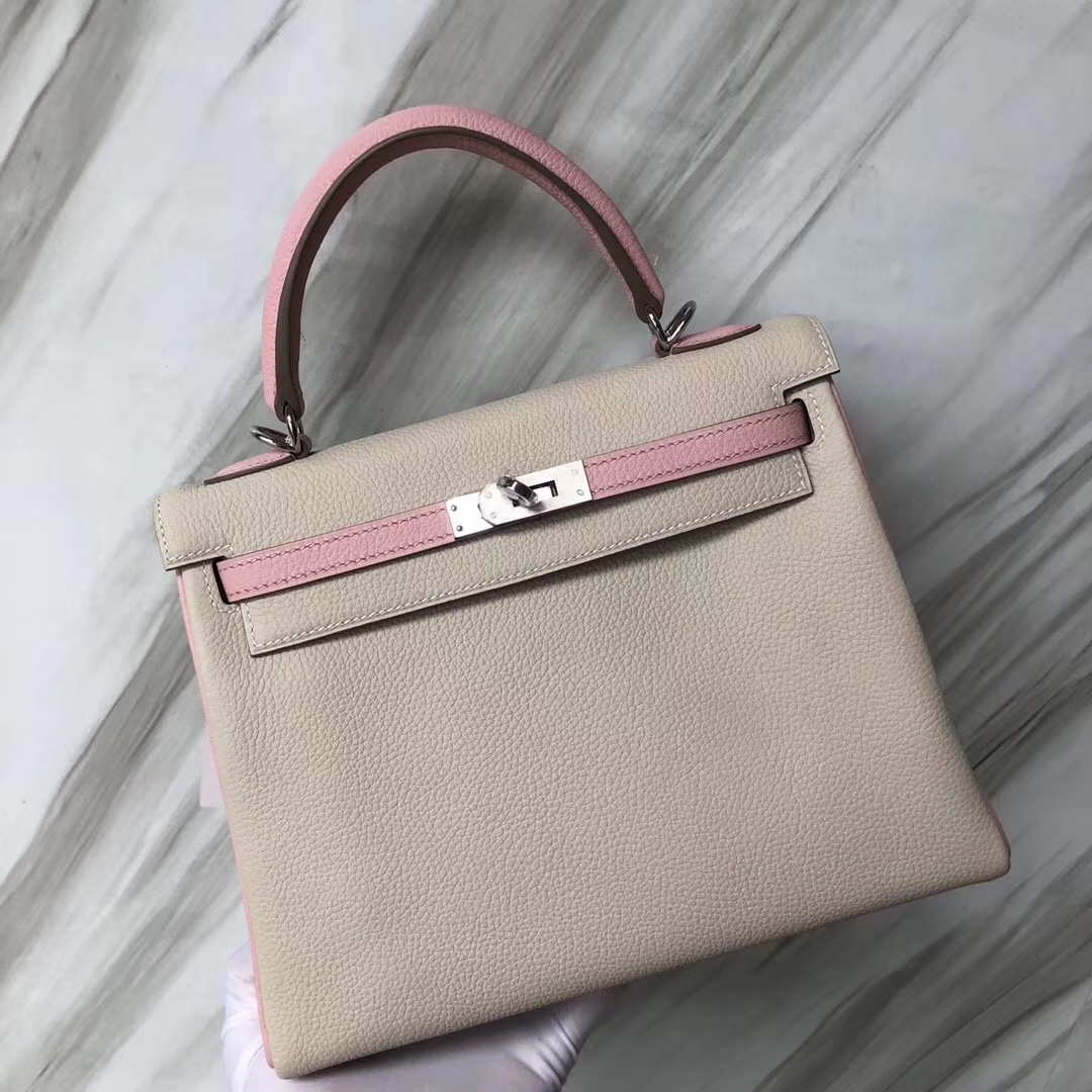 Customization Hermes CK10 Craie White/3Q Pink Togo Calf Kelly25CM Silver Hardware
