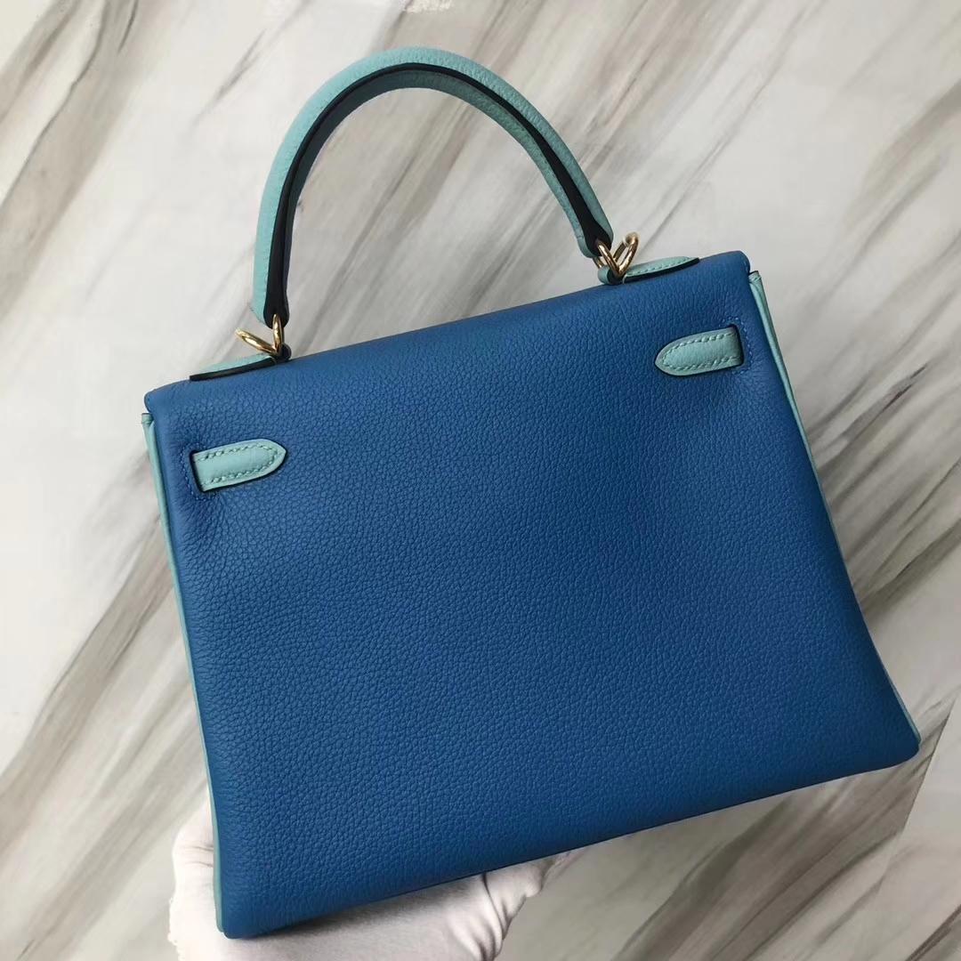 Customization Hermes B3 Blue Zanzibar/Blue Attol Togo Calf Kelly25CM Bag Gold Hardware