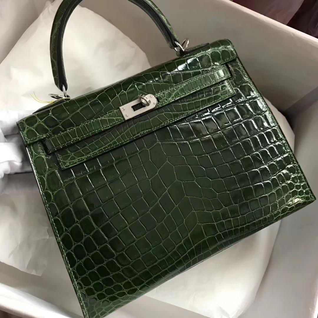 Stock Luxury Hermes CK67 Vert Fonce Shiny Crocodile Kelly Bag25CM Silver Hardware