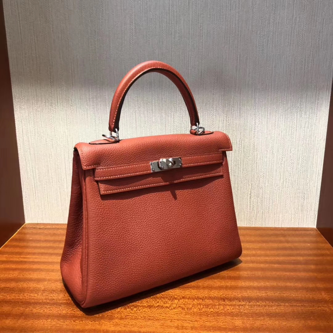 Stock Hermes 6C Cuivre Color Togo Calf Kelly25CM Bag Silver Hardware