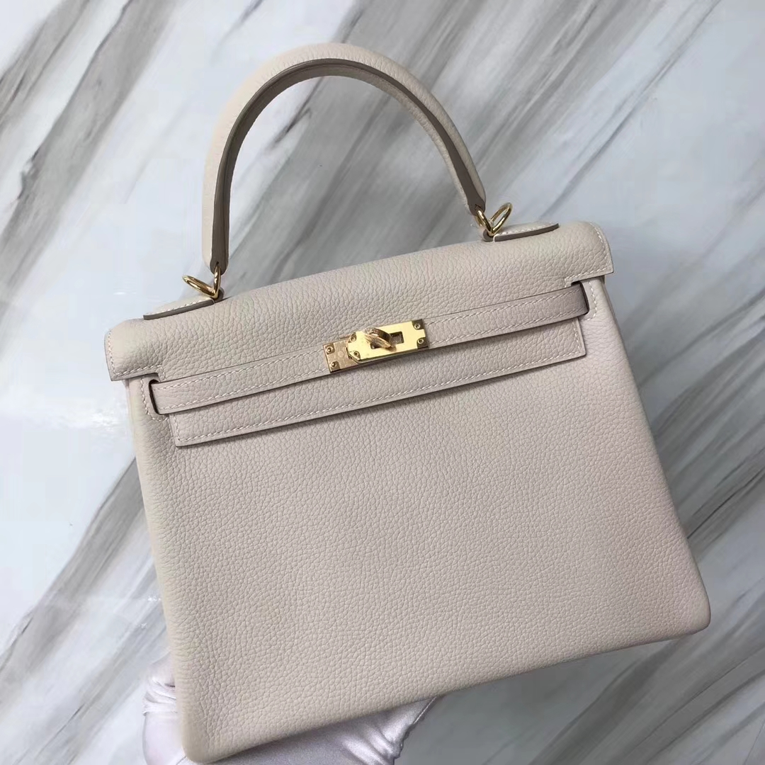 Stock Discount Hermes CK10 Craie White Togo Calf Kelly25CM Bag Gold Hardware