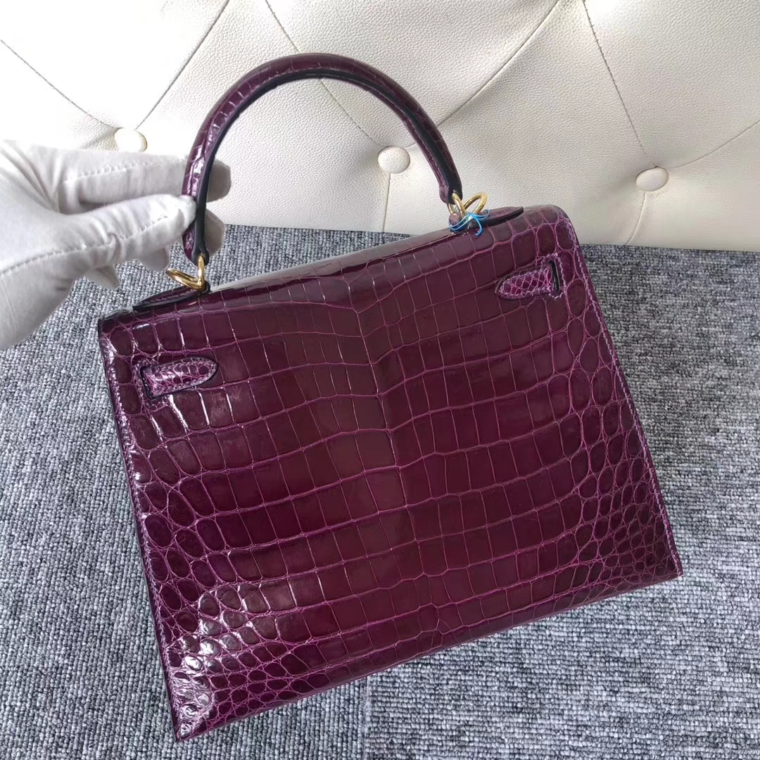 Stock Wholesale Hermes N5 Cassis Purple Shiny Crocodile Kelly Bag25CM Gold Hardware