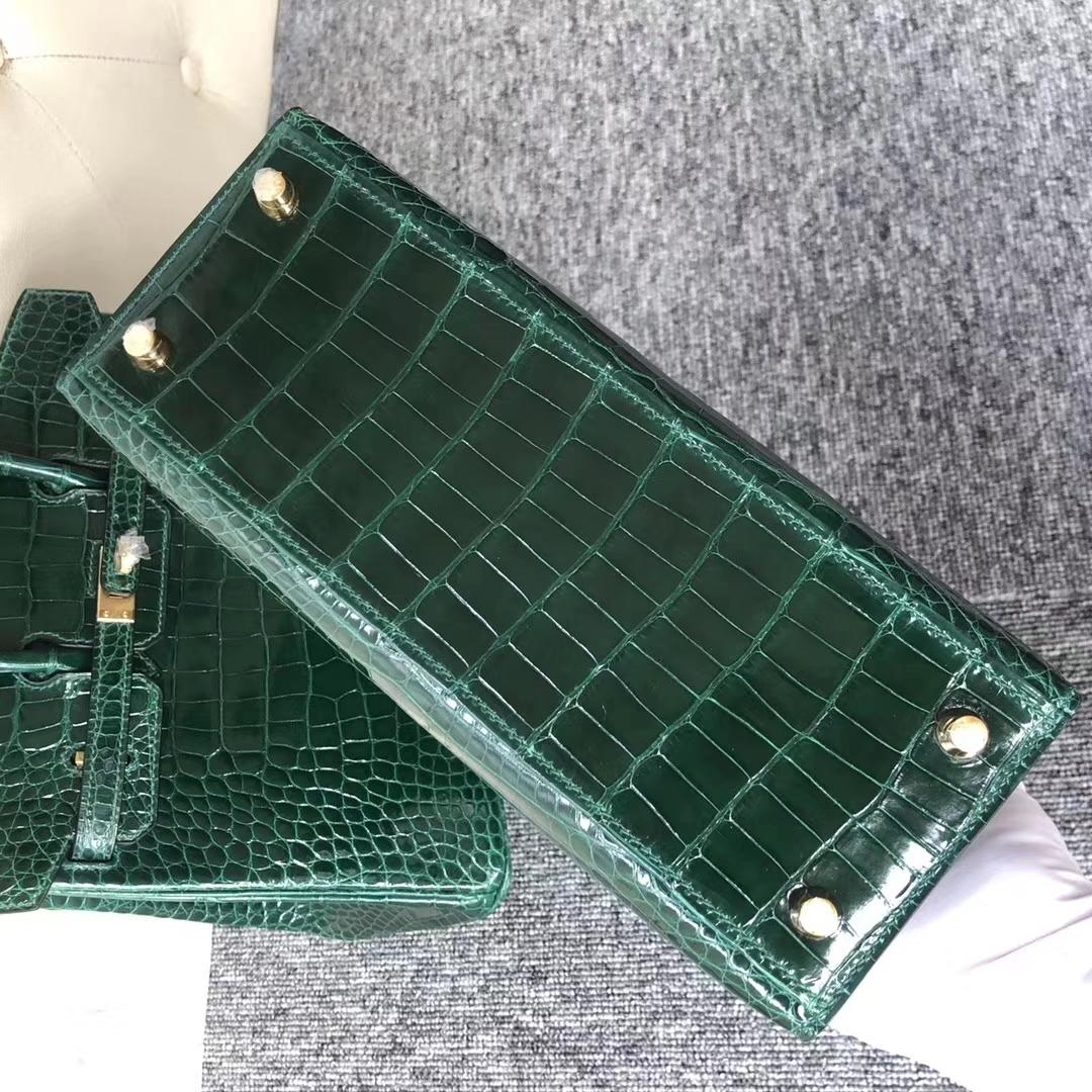 Stock Discount Hermes Shiny Crocodile Kelly25CM Bag in CK67 Vert Fonce Gold Hardware