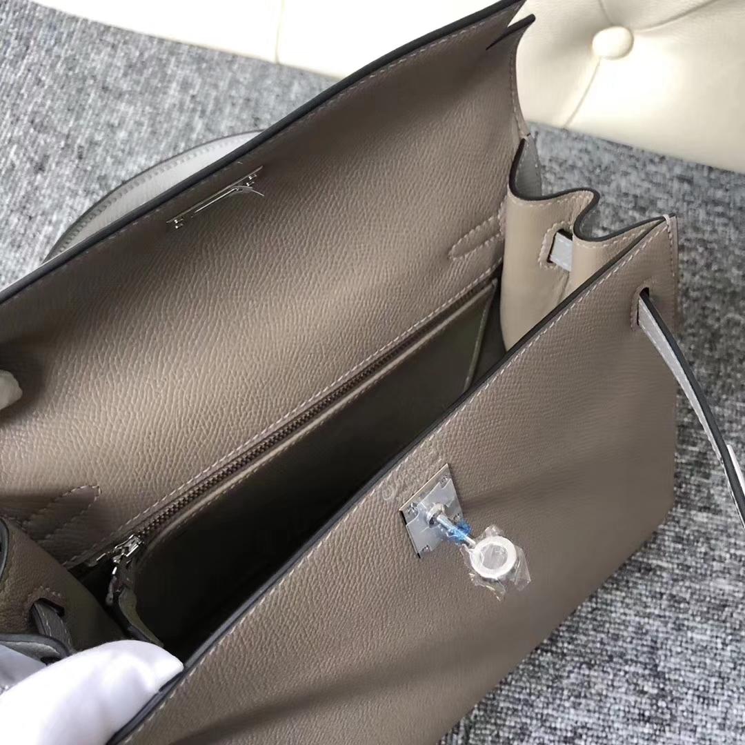 Stock Hermes M8 Gris Ashpite/4Z Gris Mouette Epsom Calf Kelly Bag25CM Silver Hardware