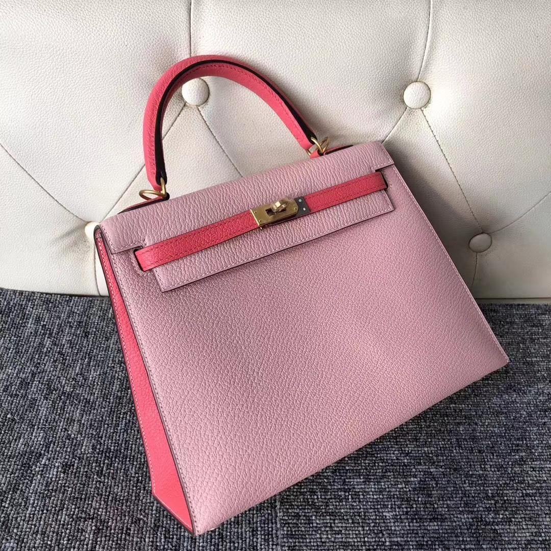 Hermes Chevre Leather Kelly25CM Bag in 3Q Rose Barbie/8W Rose Azalee Gold Hardware