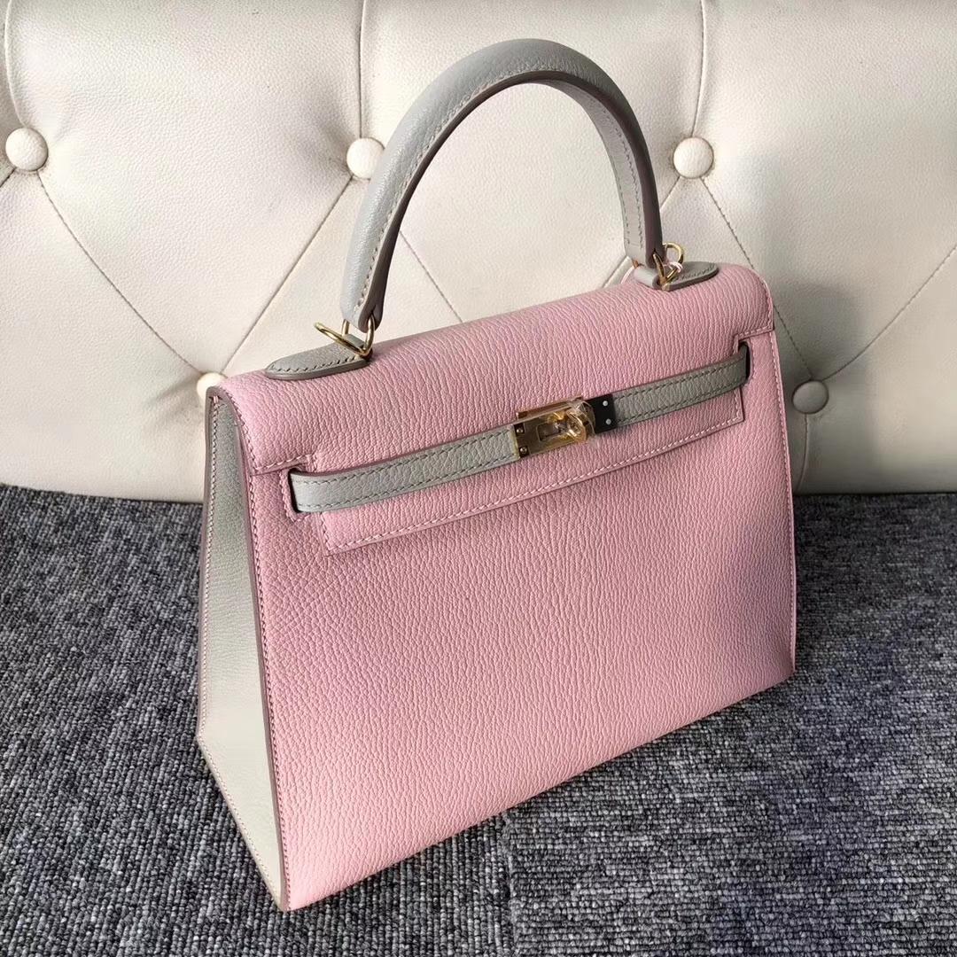 Discount Hermes 3Q Rose Barbie/Gris Tourterelle Chevre Leather Kelly25CM Bag