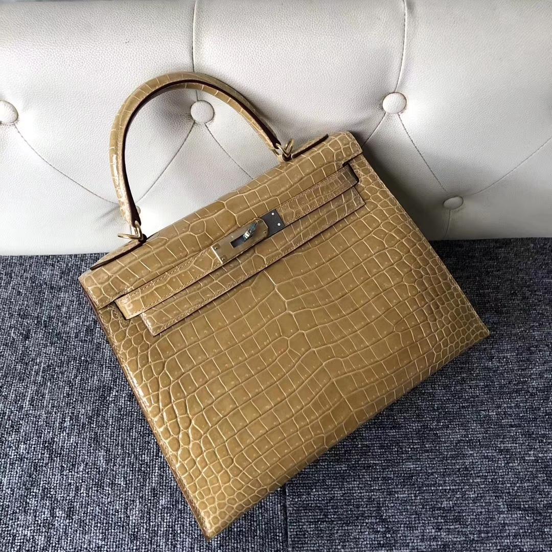 Stock Discount Hermes 1C Beige Porosus Shiny Crocodile Kelly25CM Bag Gold Hardware