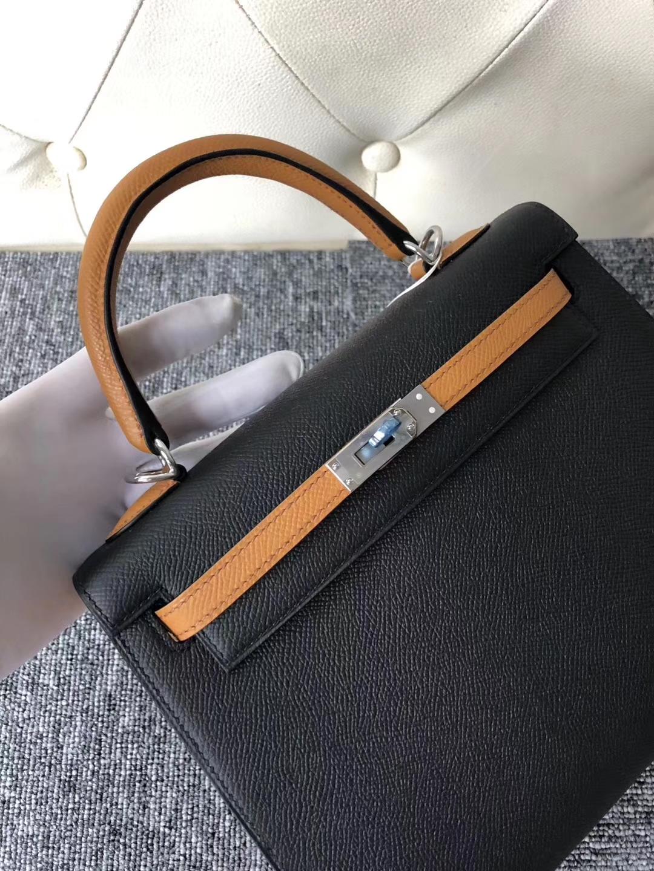 New Arrival Hermes CK89 Noir/1H Toffee Epsom Kelly25CM Bag Silver Hardware