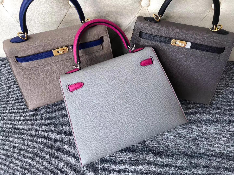 Discount Hermes Epsom Calf Kelly Bag25CM in 4Z Gris Mouette/L3 Rose Purple Silver Hardware