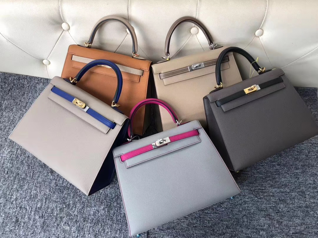 Fashion Hermes Epsom Calf Kelly Bag25cm in Gris Trench/Gris Etoupe Silver Hardware