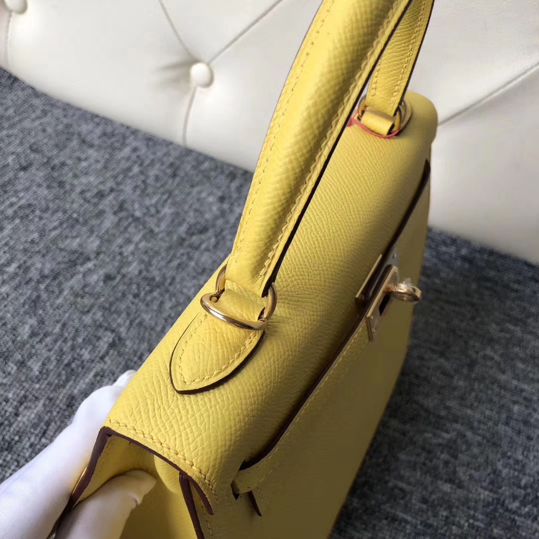 Discount Hermes Epsom Calf Kelly25CM Bag in 9O Jaune de Naples Gold Hardware