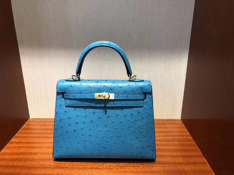 Discount Hermes 7W Blue Izmir KK Ostrich Kelly Bag25CM Gold Hardware