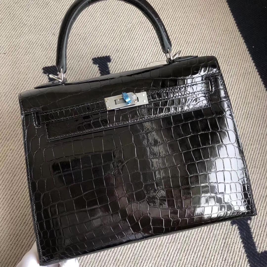 Noble Hermes CK89 Noir Shiny Crocodile Kelly Bag25CM Silver Hardware