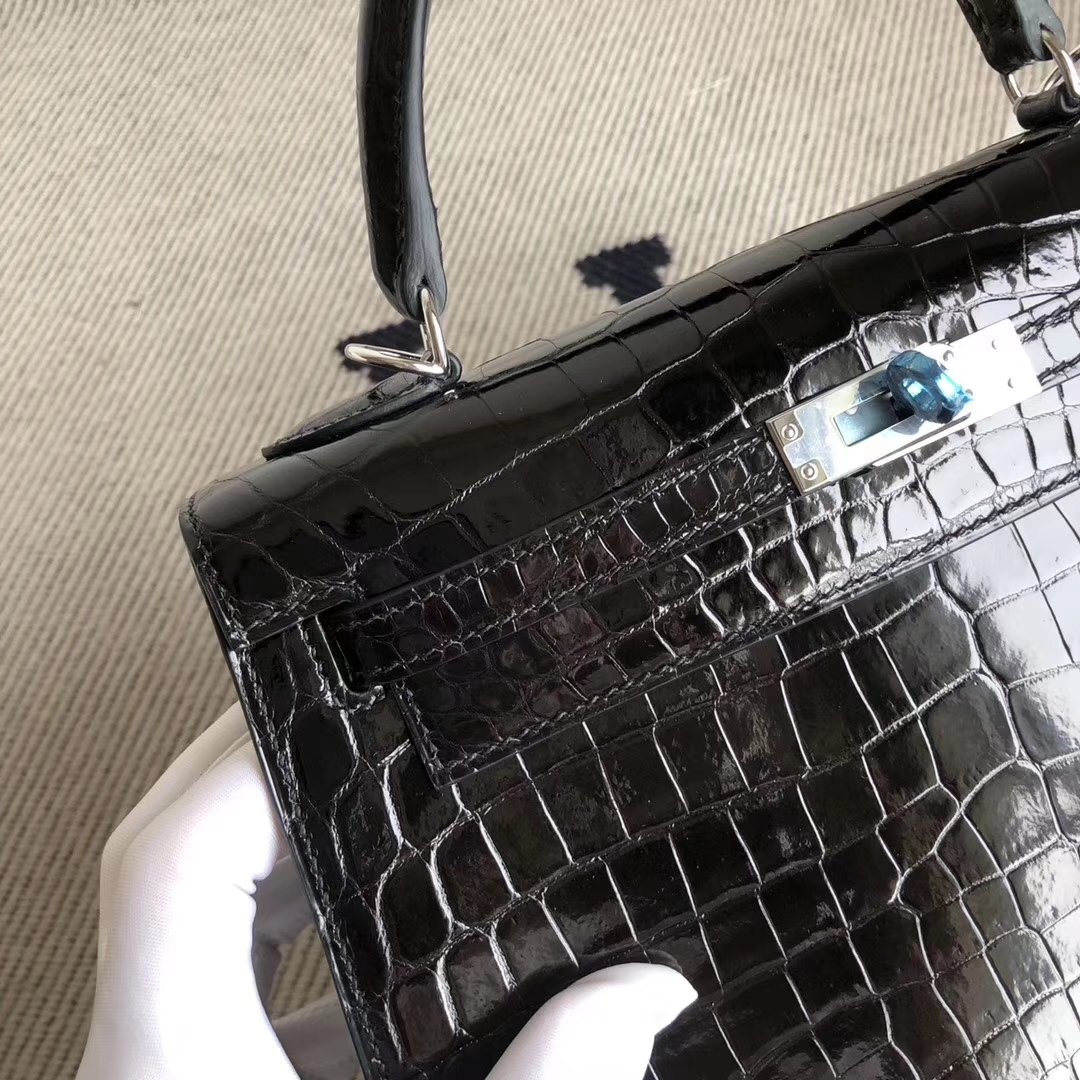 Noble Hermes CK89 Noir Shiny Crocodile Kelly Bag25CM Silver Hardware