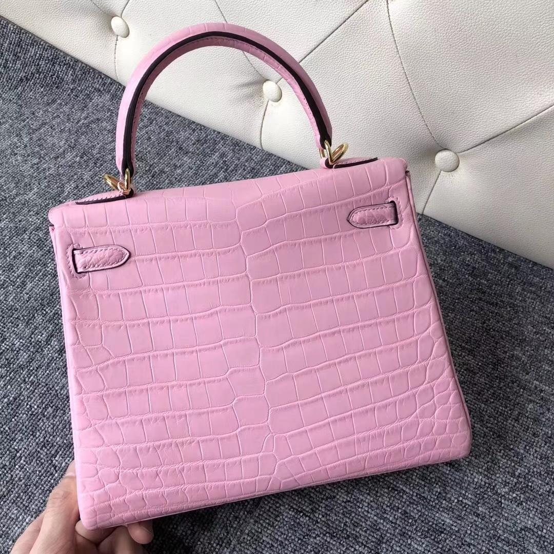Wholesale Hermes Matt Crocodile Kelly25CM Tote Bag in 5P Rose Sakura Gold Hardware