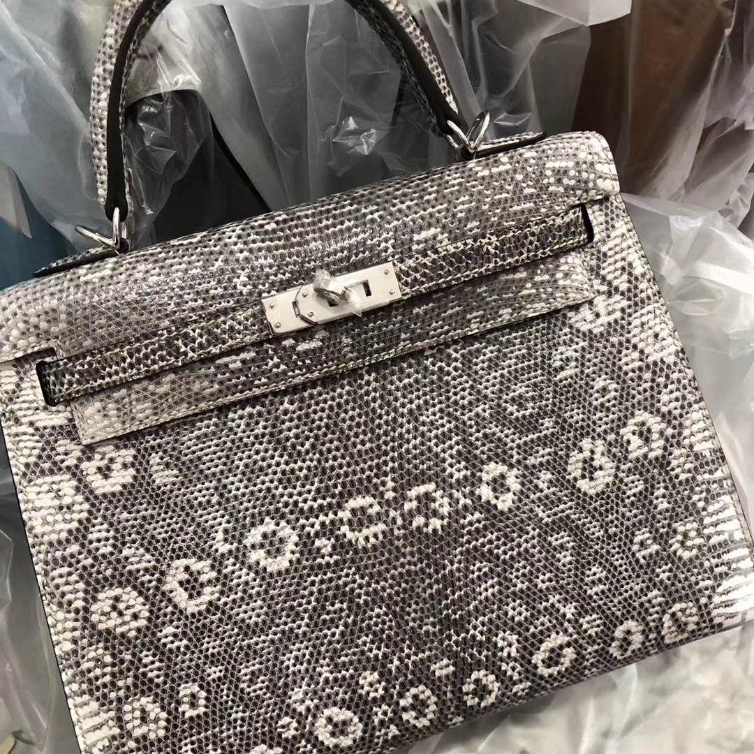 Stock Hermes Lizard Leather Kelly25CM Bag 01 Nature Color Silver Hardware