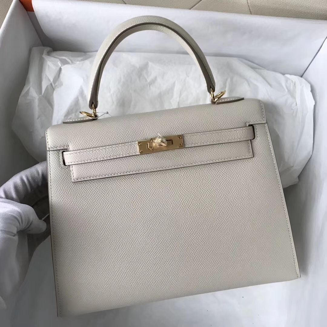 Wholesale Hermes CK10 Craie White Epsom Calf Kelly Bag25CM Gold Hardware