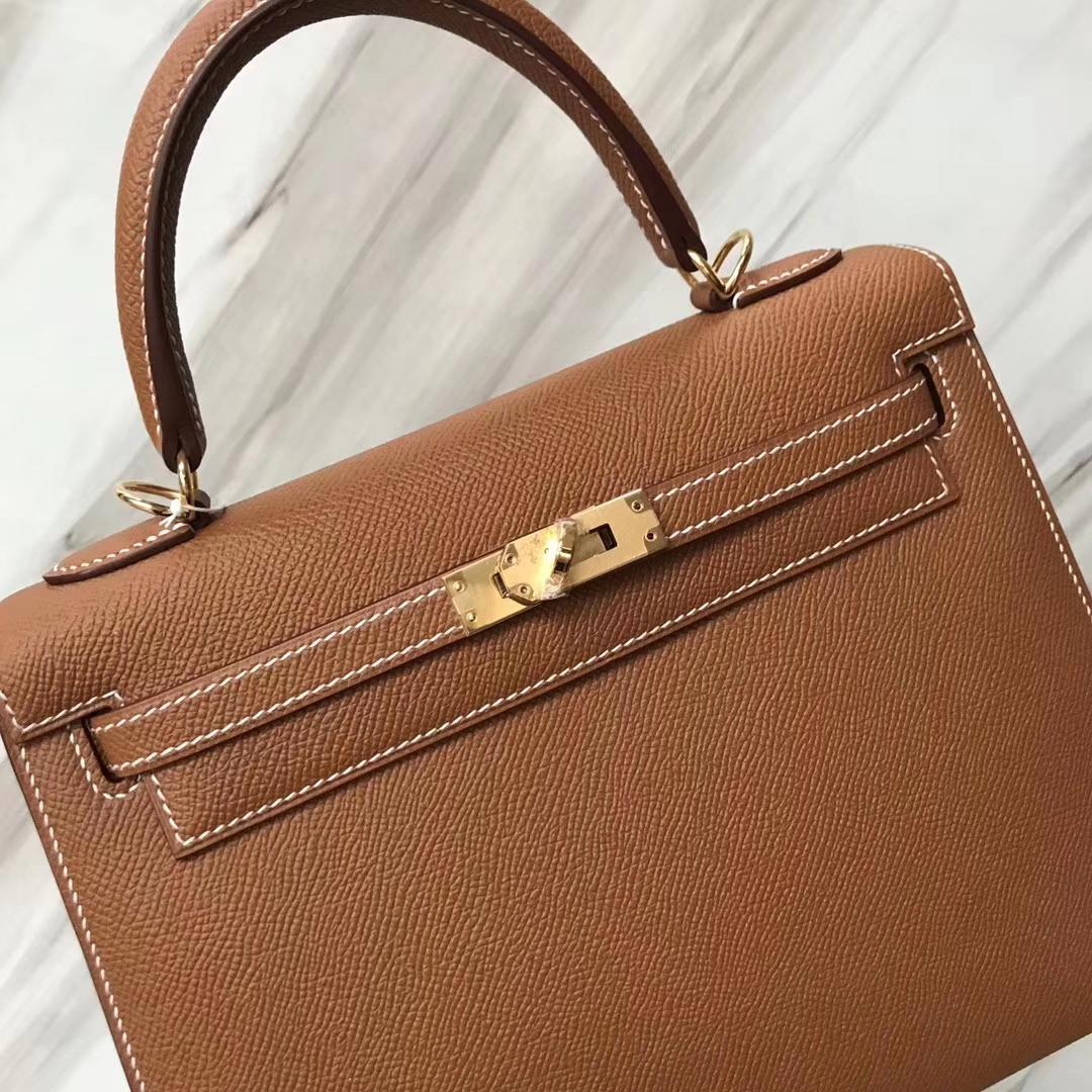 Stock Hermes Epsom Calf CK37 Gold Sellier Kelly25CM Bag Gold Hardware
