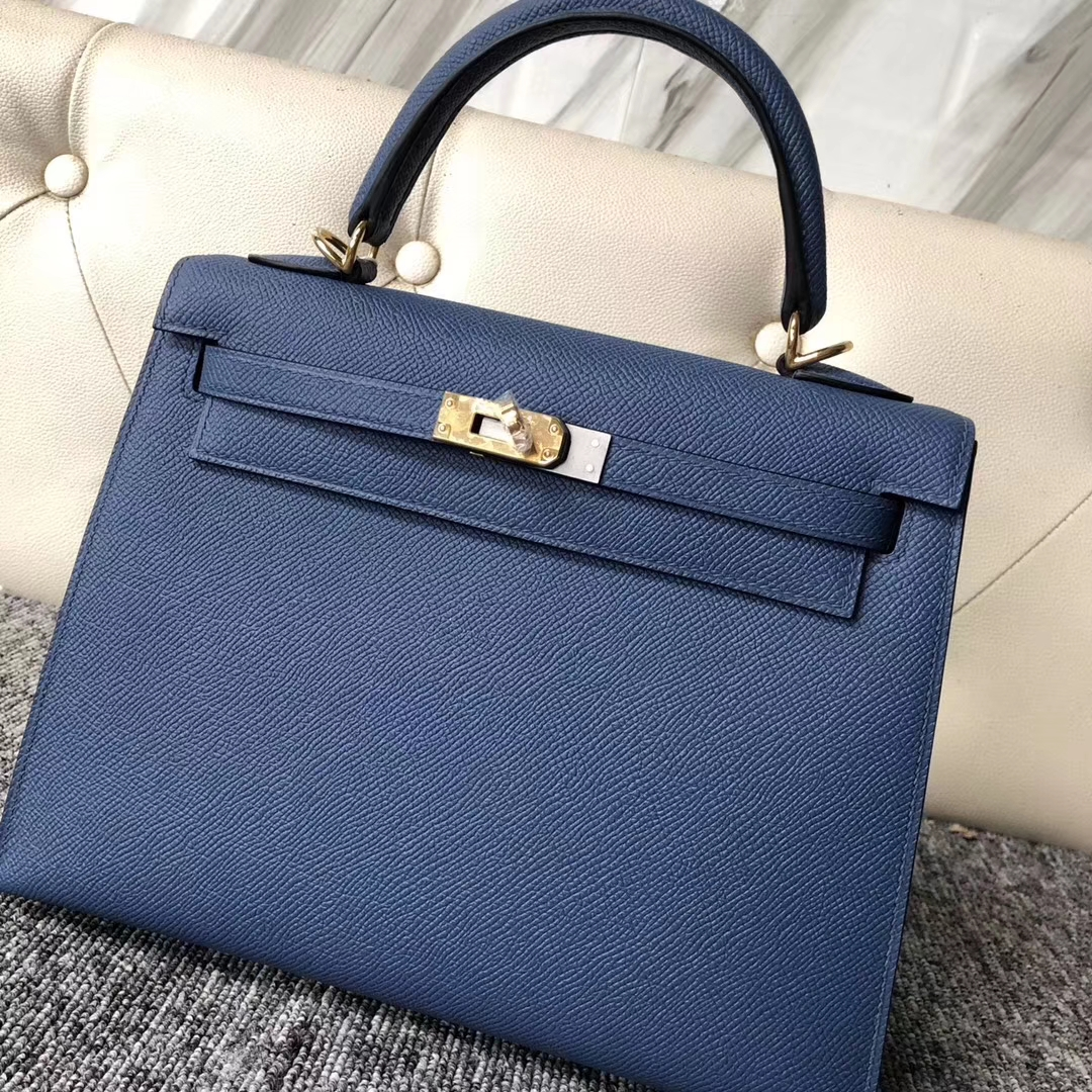 Noble Hermes Epsom Calf Kelly Bag25CM in 2R Blue Agate Gold Hardware