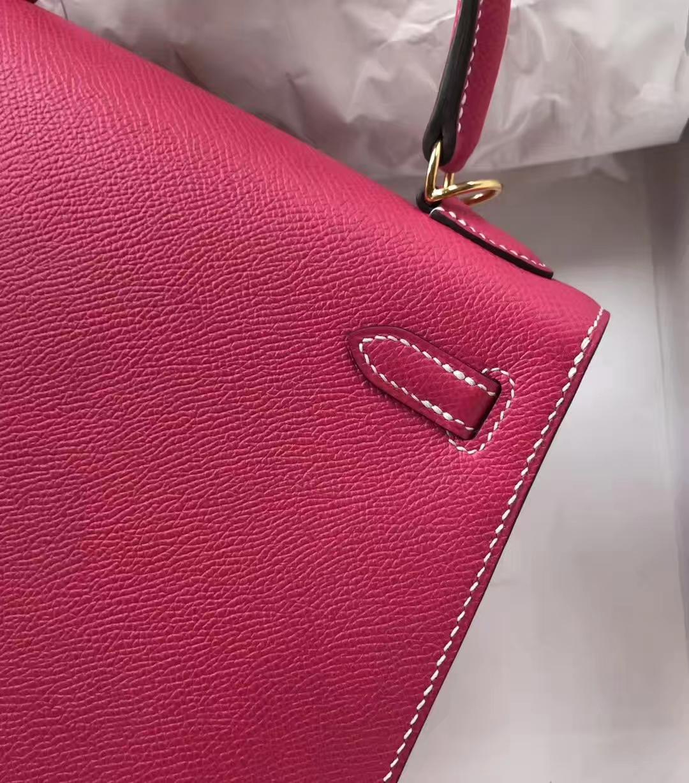 Stock Hermes Epsom Calf Kelly25CM Bag in E5 Rose Tyrien Gold Hardware