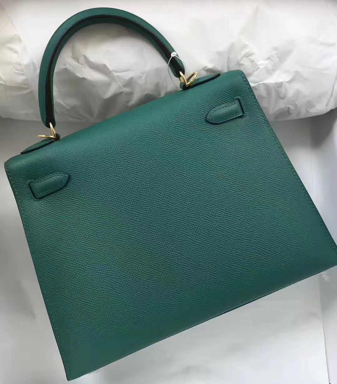 Fashion Hermes Z6 Malachite Epsom Calf Kelly Bag25CM Gold Hardware