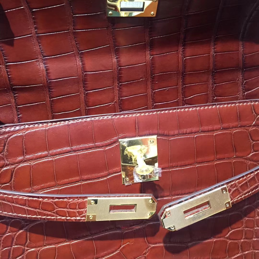 Hermes Matt AlligatorCrocodile RetourneKelly32CM Bag in 4DTerre Color