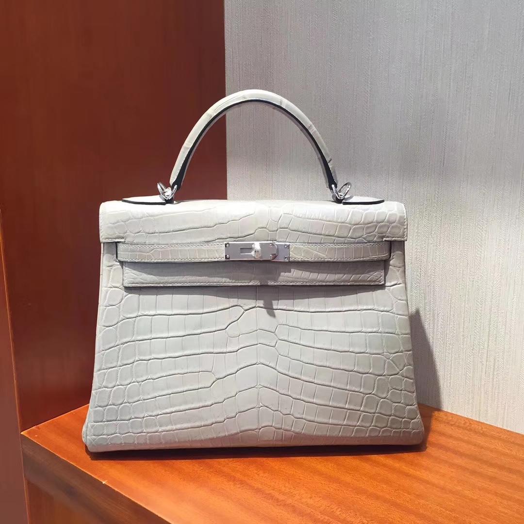 Noble Hermes Galaxy Grey Matt Crocodile Leather Kelly Bag32CM Silver Hardware