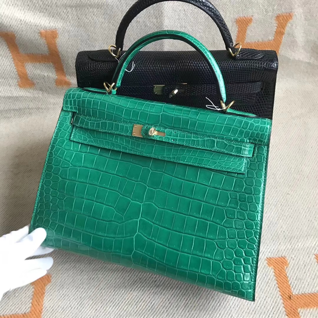 Noble Hermes 6Q Emerald Green Shiny Crocodile Leather Kelly32cm Bag