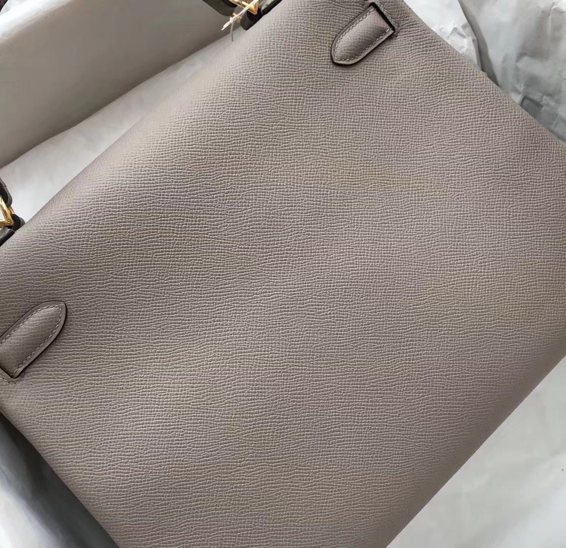 New Arrival Hermes M8 Gris Ashoite Epsom Calf Kelly32CM Bag Gold Hardware