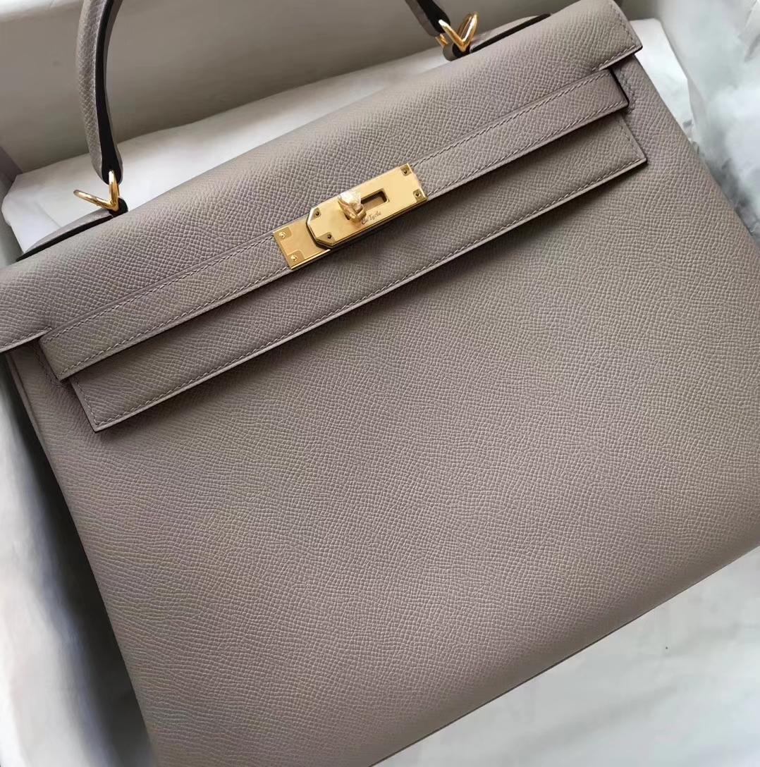 Elegant Hermes Gris Ashpite Epsom Calf RetourneKelly32CM Bag Gold Hardware