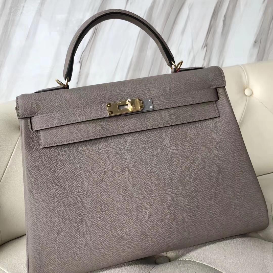 Elegant Hermes Epsom Calf Kelly Bag32CM in M8 Gris Ashpite Gold Hardware