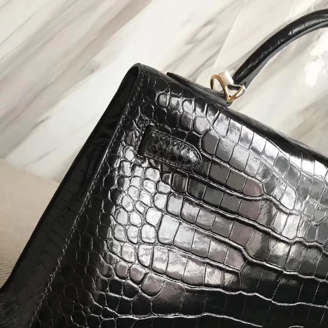 Discount Hermes CK89 Black Porosus Shiny Crocodile Kelly32CM Bag Gold Hardware