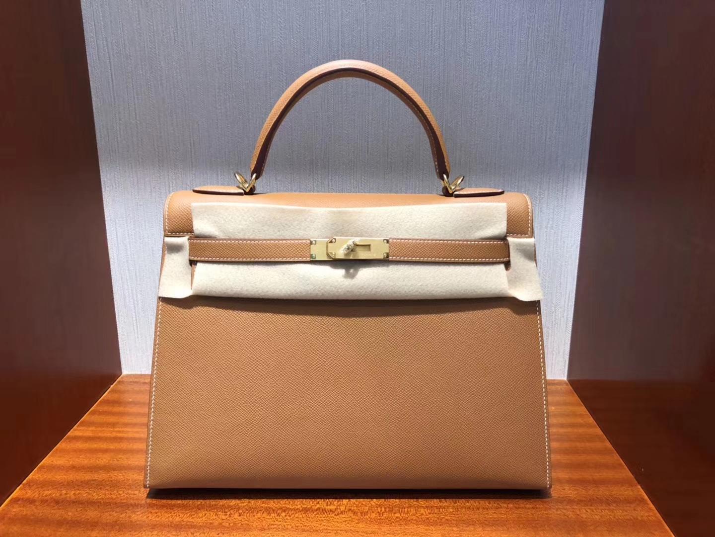 Sale Hermes CK37 Gold Epsom Calf Sellier Kelly Bag32CM Gold Hardware