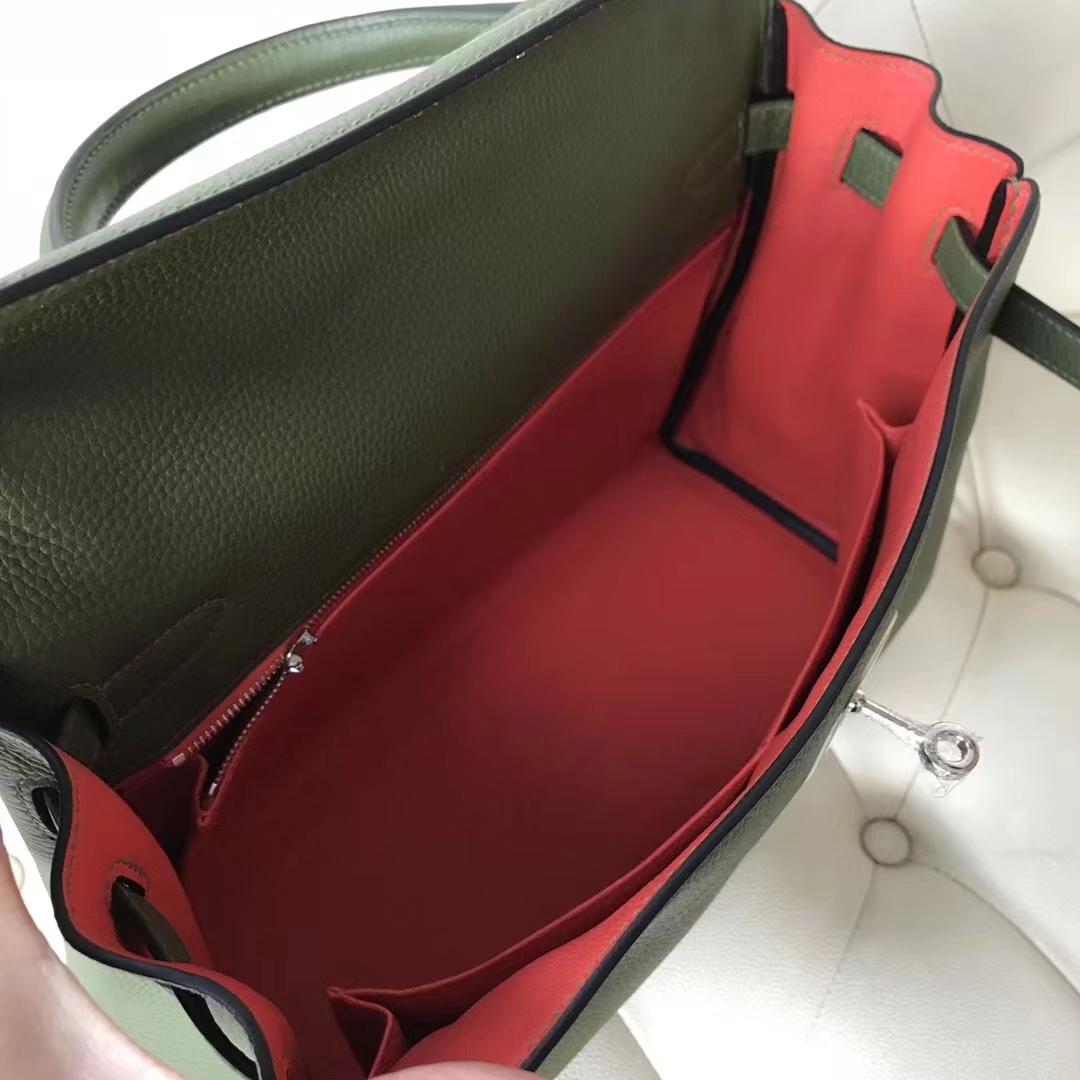 New Arrival Hermes V6 Canopee Green/9T Orange inner Togo Calf Kelly32CM Bag Silver Hardware