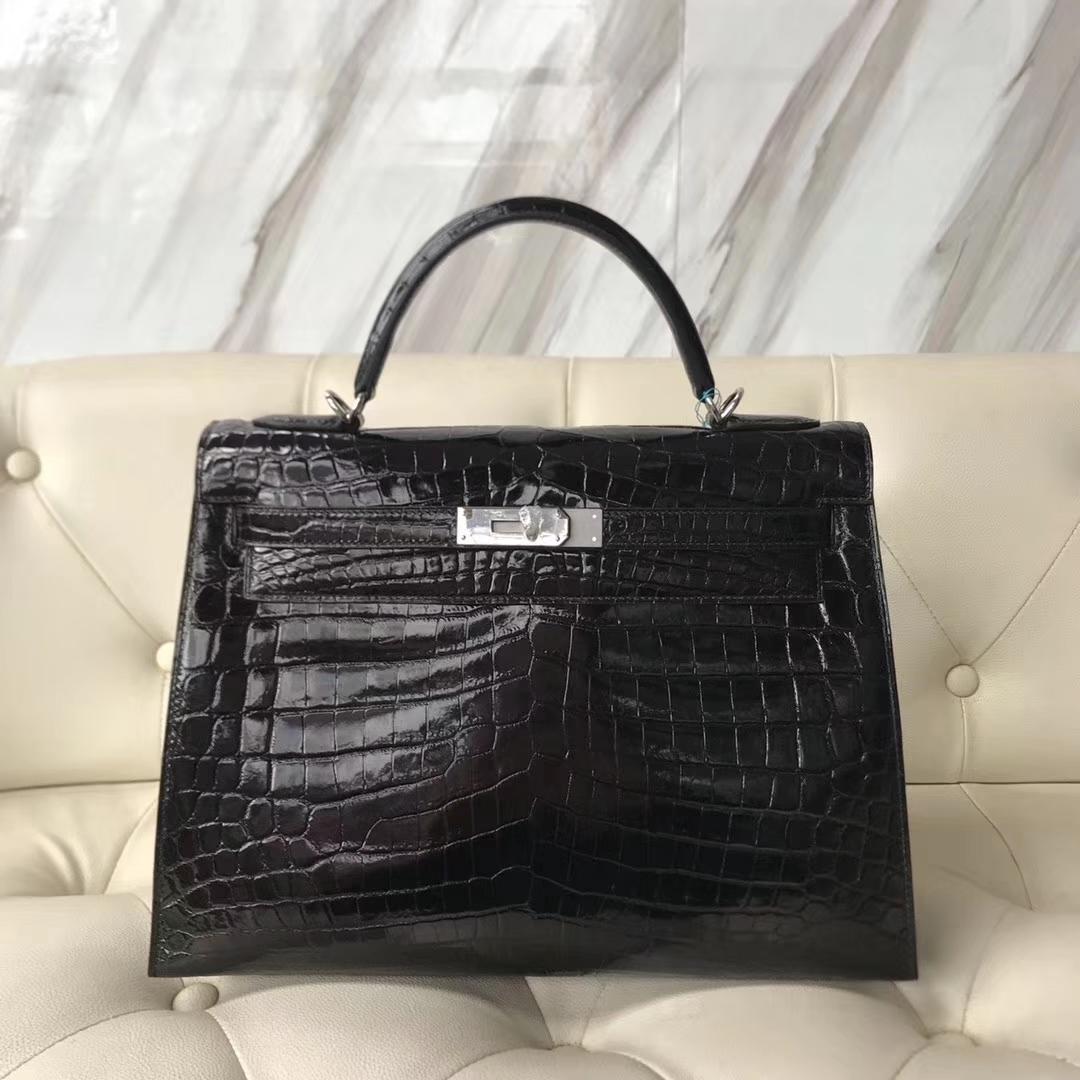 Elegant Hermes Shiny Nilo Crocodile Kelly Bag32CM in CK89 Black Silver Hardware