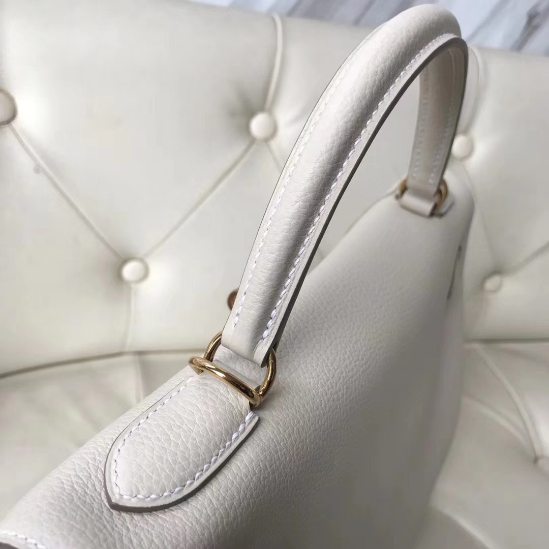 Wholesale Hermes CK10 Craie White Togo Calf Retourne Kelly32CM Bag Gold Hardware