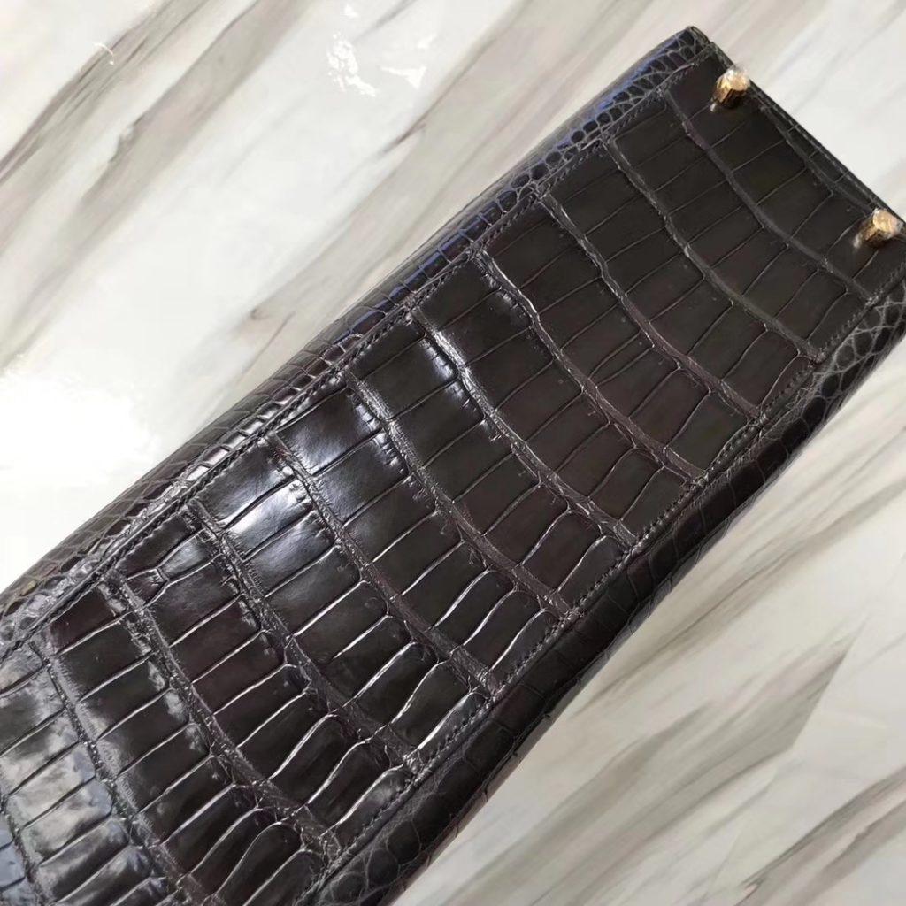 Discount Hermes Kelly Bag32CM in CK88 Graphite Grey Shiny Porosus Crocodile Gold Hardware
