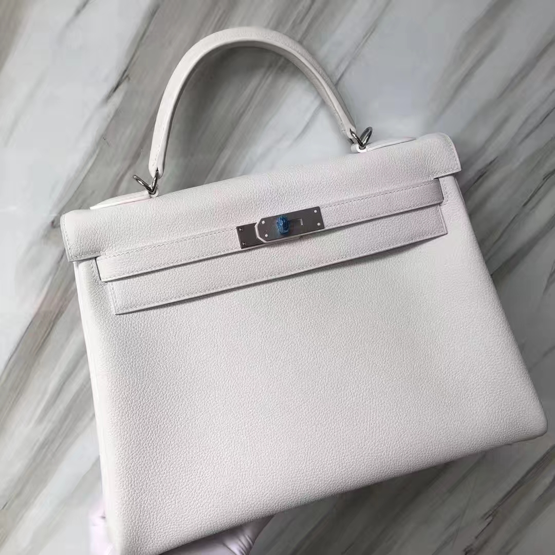Customization Hermes 01 Pure White Togo Calf Kelly Bag32CM Silver Hardware