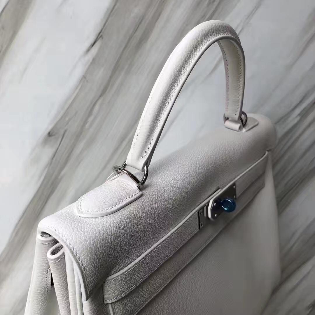 Customization Hermes 01 Pure White Togo Calf Kelly Bag32CM Silver Hardware