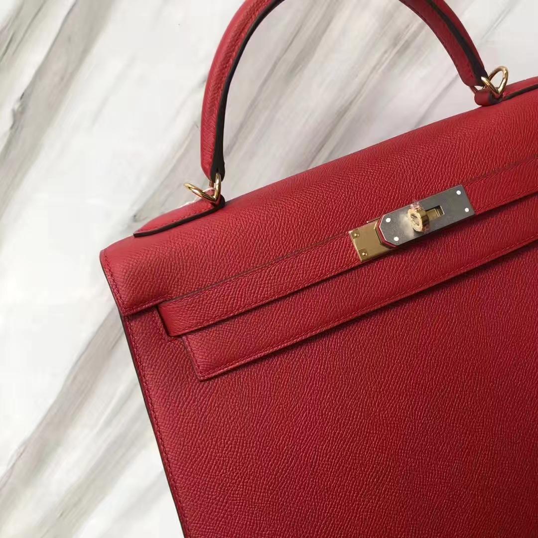 Stock Hermes Q5 Rouge Casaque Epsom Calf Kelly32cm Bag Gold Hardware