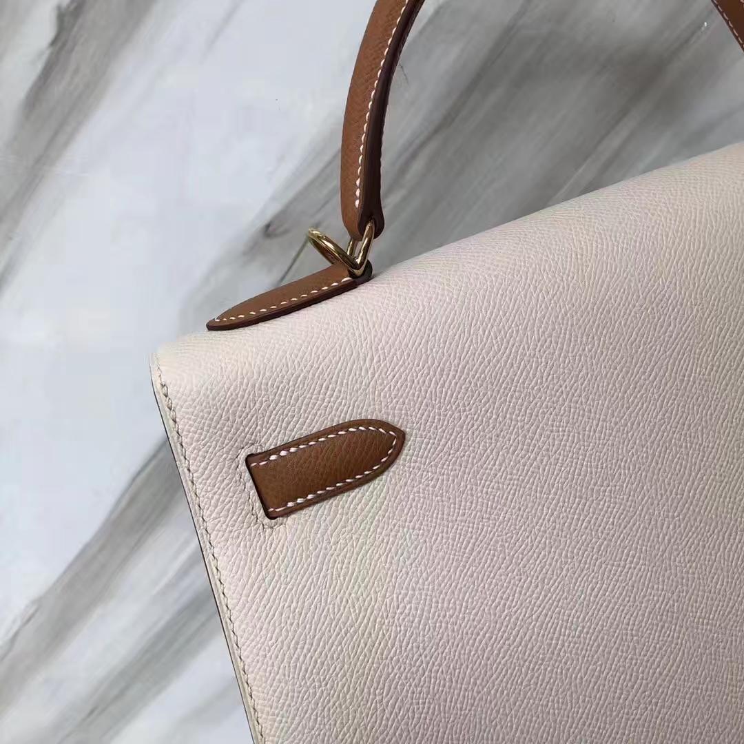 Customization Hermes CK10 Craie White/CK37 GoldEpsom Calf Kelly32CM Bag Gold Hardware