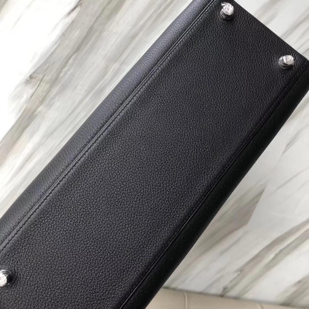 Stock Hermes Classic Bag CK89 Noir Togo Calf Kelly32CM Silver Hardware