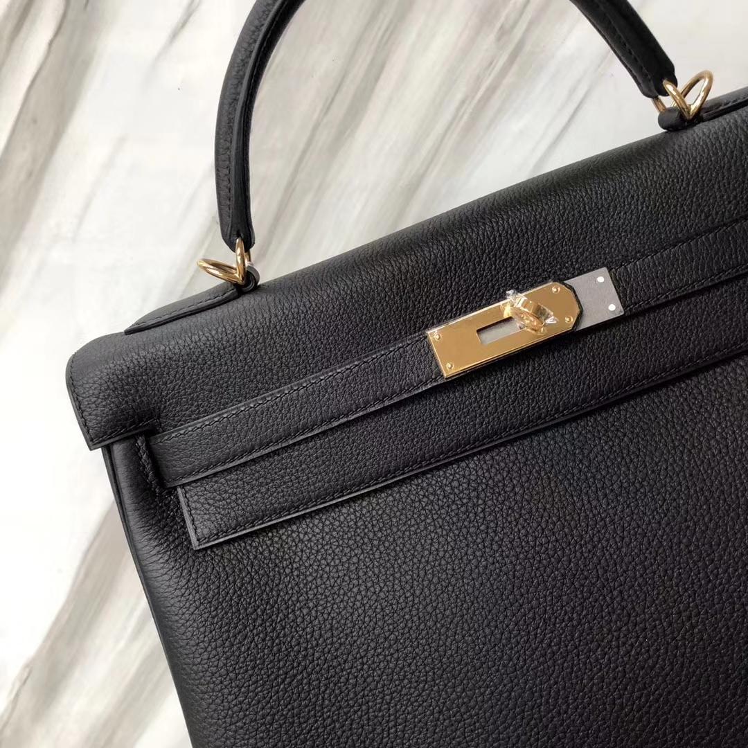 Stock Wholesale Hermes Kelly Bag32CM CK89 Noir Togo Calf Gold Hardware
