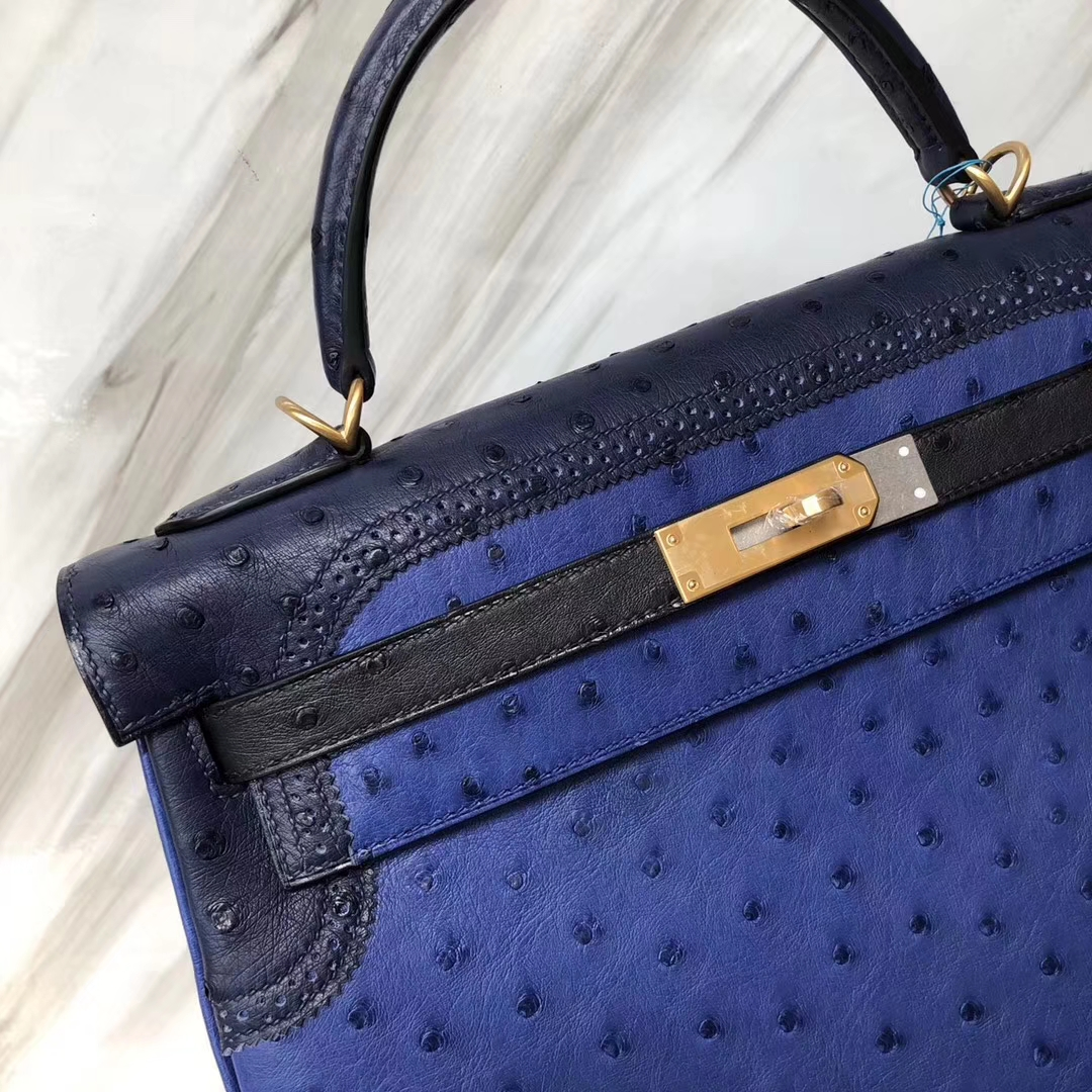 New Arrival Hermes 7T Blue Electric Ostrich Leather Ghillies Kelly Bag32CM Gold Hardware
