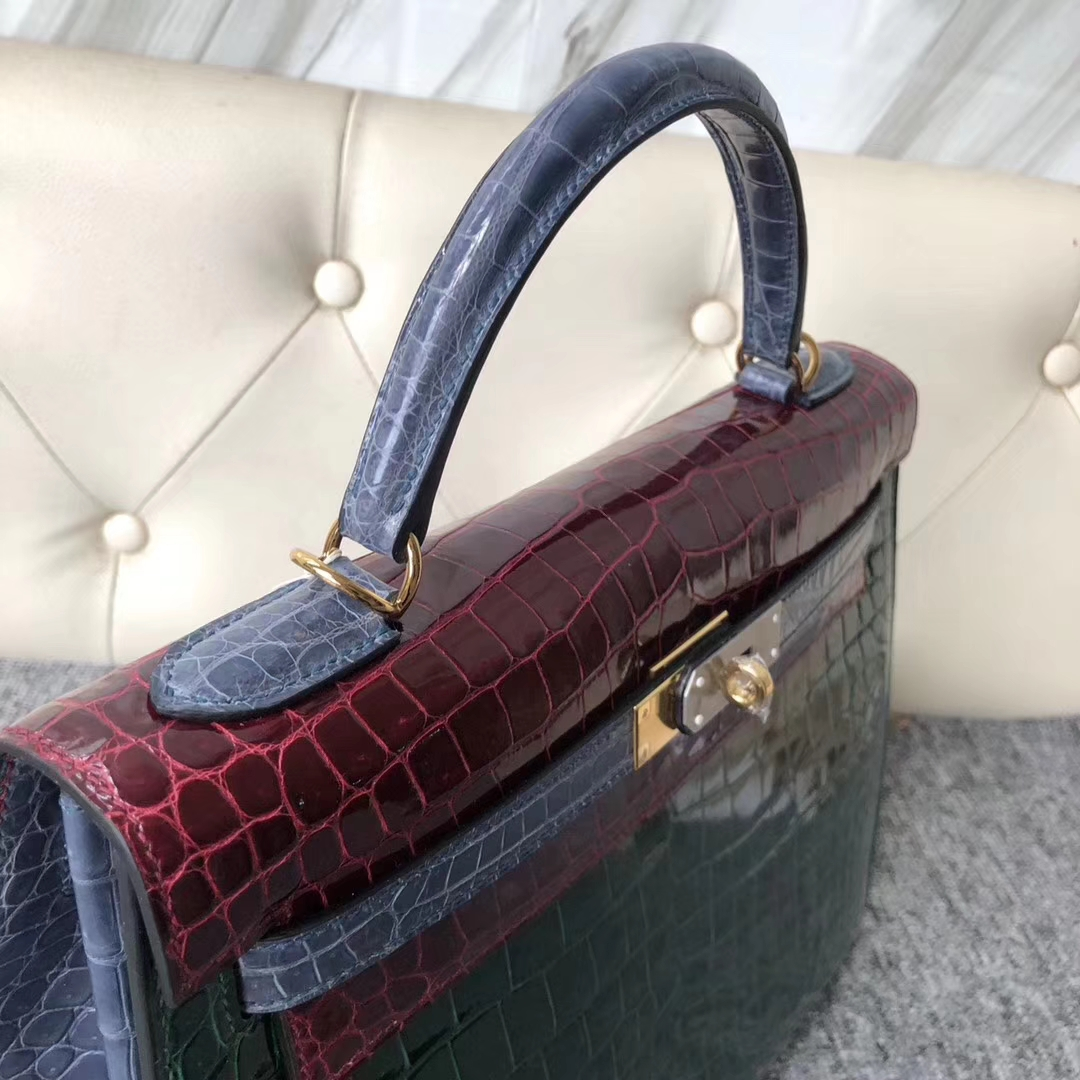 New Hermes Vert Fonce/Bourgogne/Blue Tempete Crocodile Kelly32CM Bag